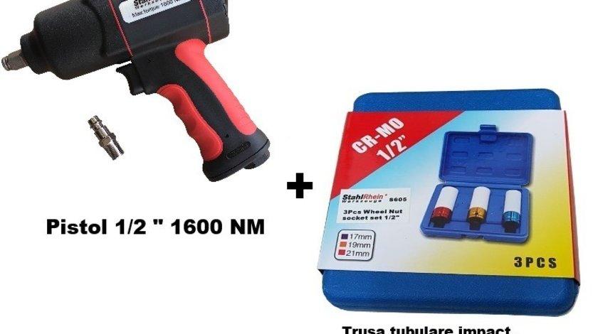 "Pistol pneumatic 1/2"" 1600 Nm + trusa tubulare impact 3 buc (17,19,21 mm)"