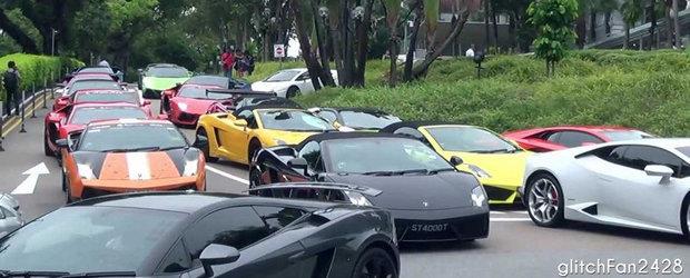Planeta Lamborghini: Zeci de supercaruri invadeaza strazile din Singapore