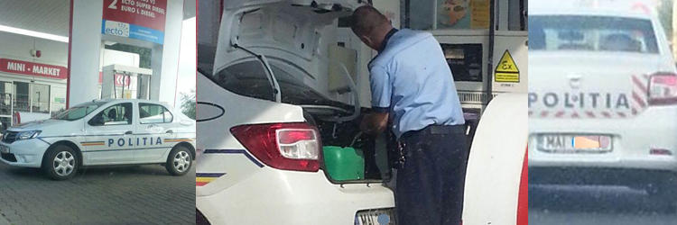 Politist canistra furt benzina - Politist canistra furt benzina