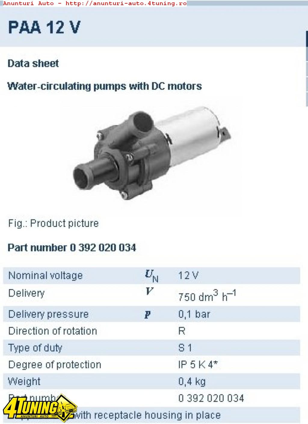 Pompa Apa Suplimentara Bo 0392020034 Opel Vw Audi Volvo