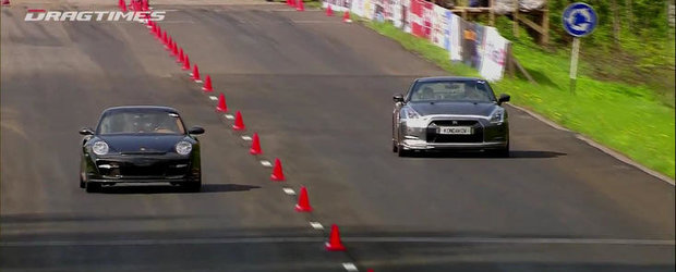 Porsche 911 Proto 1000. Nissan GT-R AMS Alpha 12. Porsche GT2 9ff. Drag Race!