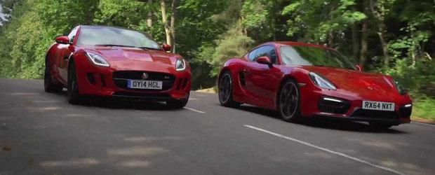 Porsche Cayman GTS si Jaguar F-Type V6 S se lupta pentru banii tai