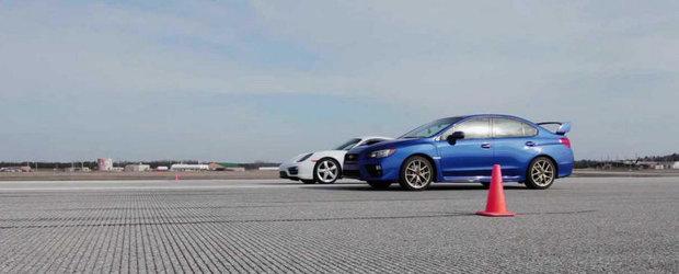Porsche Cayman sau Subaru WRX STI? Care-i mai rapid pe o mila?