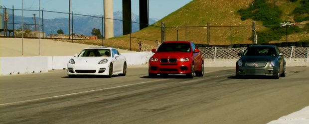 Porsche Panamera Turbo. BMW X6 M. Cadillac CTS-V Wagon. Drag Race!