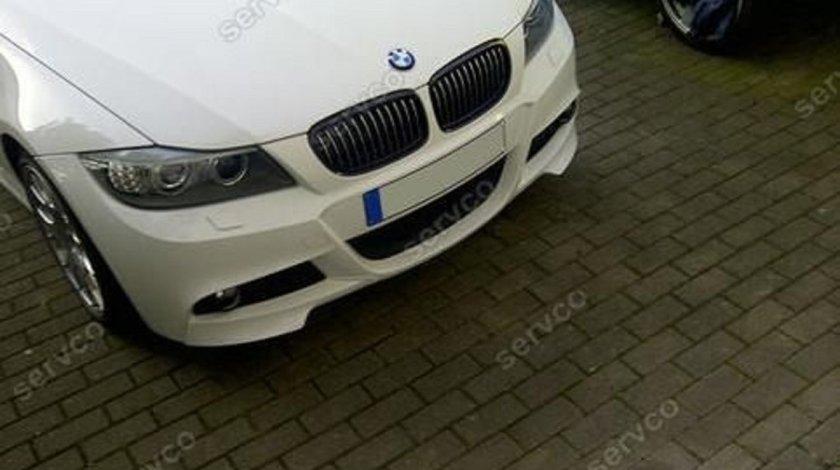 Prelungire lip buza spoiler bara fata BMW E90 E91 LCI pt bara pachet M tech Aerodynamic 2009-2012 v4