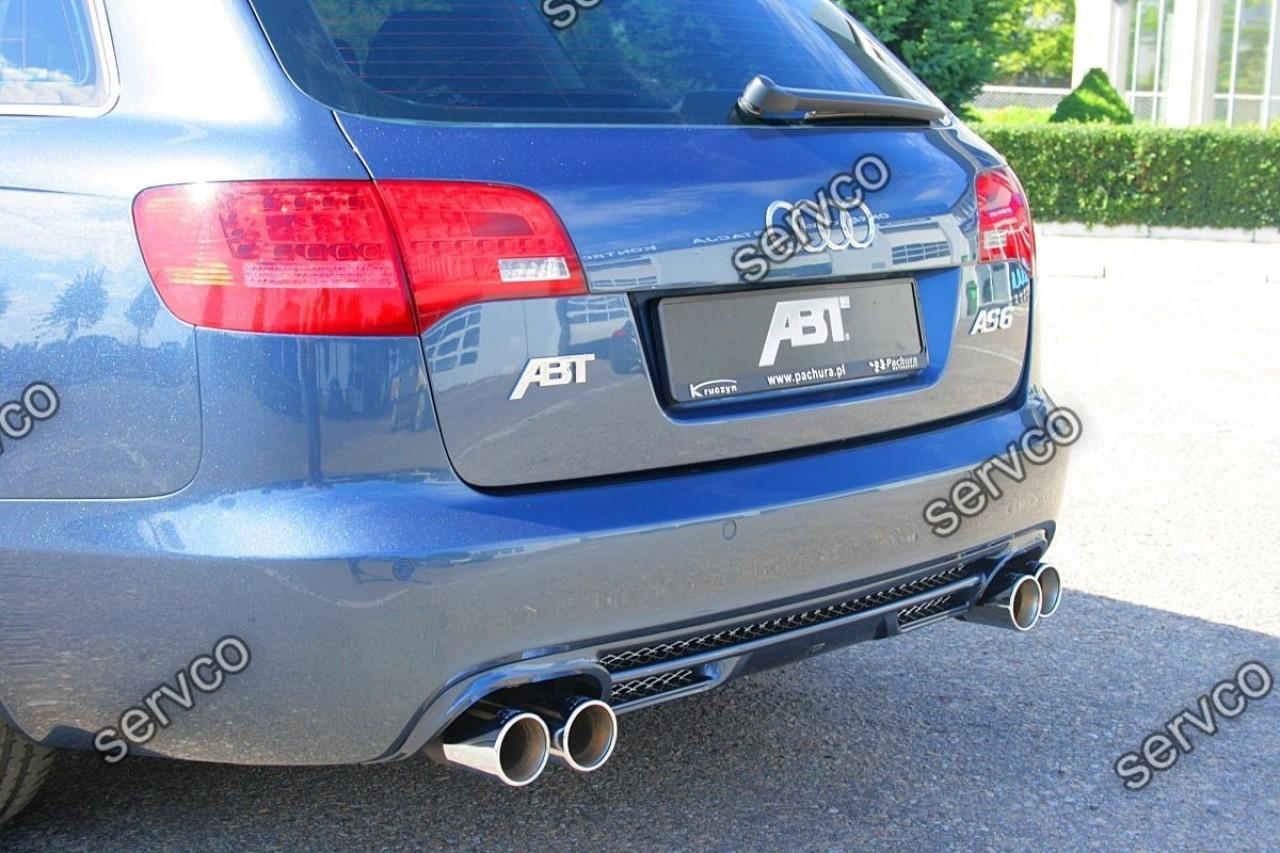 Prelungire ornament ABT Sline tuning sport bara spate Audi A6 C6 4F Avant RS6 S6 2004-2008 v1