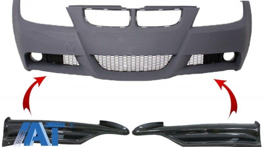 Prelungiri Carbon compatibil cu BMW 3 Series E90 E91 Sedan Touring (2005-2008) pentru Bara Fata M-tech