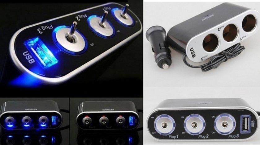 Prelungitor priza 3 cai auto si 1 USB WF013