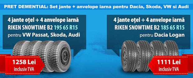 PRET DEMENTIAL: Set jante + anvelope iarna pentru Dacia, Skoda, VW si Audi