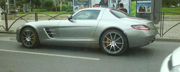 Prima imagine surprinsa cu Mercedes SLS in traficul bucurestean!