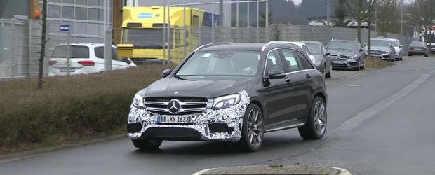 Primele imagini spion cu Mercedes GLC63 AMG, crossover-ul german cu motor V8 sub capota