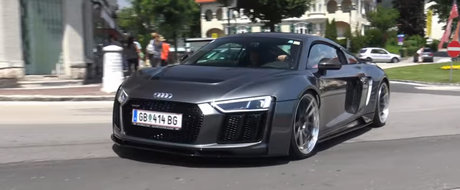 Primul Audi R8 V10 Plus tunat de Prior Design a fost surprins in Austria. Sunetul face toti banii