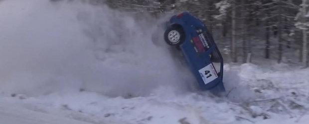 Primul raliu pe zapada din Finalanda a avut o multime de accidente spectaculoase