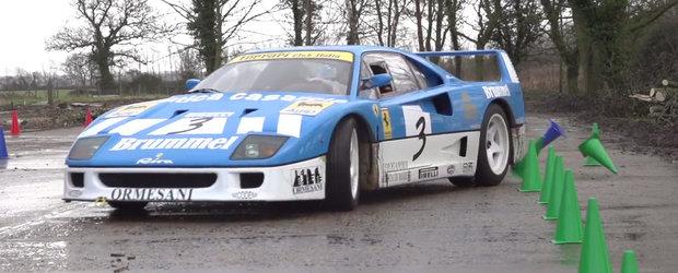 Priveste un Ferrari F40 GT facand drifturi printre gropi si hambare