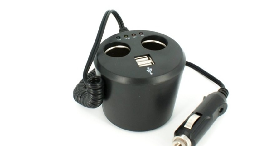 Priza auto dubla 12V 5A, 2 iesiri tip bricheta, si doua iesiri USB, cu tester baterie Kft Auto
