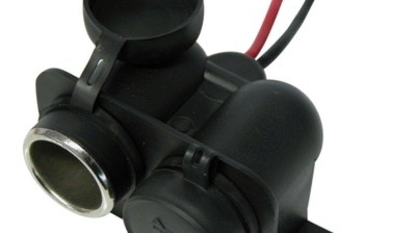 Priza auto dubla Carpoint 12-24V max. 15A suplimentara cu cablu de 15cm., 1 buc.