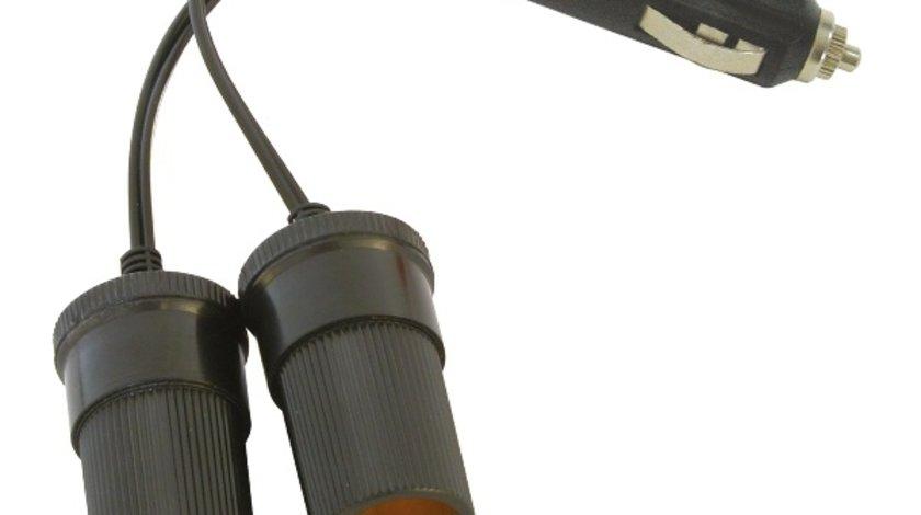Priza auto dubla Carpoint cu 2 iesiri separate 2 x 12 V max. 8A, cablu de 11cm si fisa bricheta