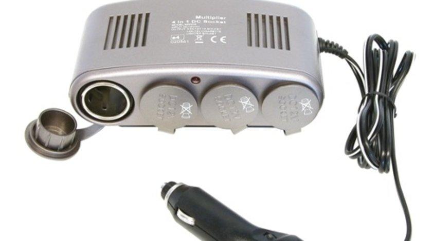 Priza auto multipla Carpoint cu 4 iesiri de 12V 1A , max.120W, cablu de 130cm si led