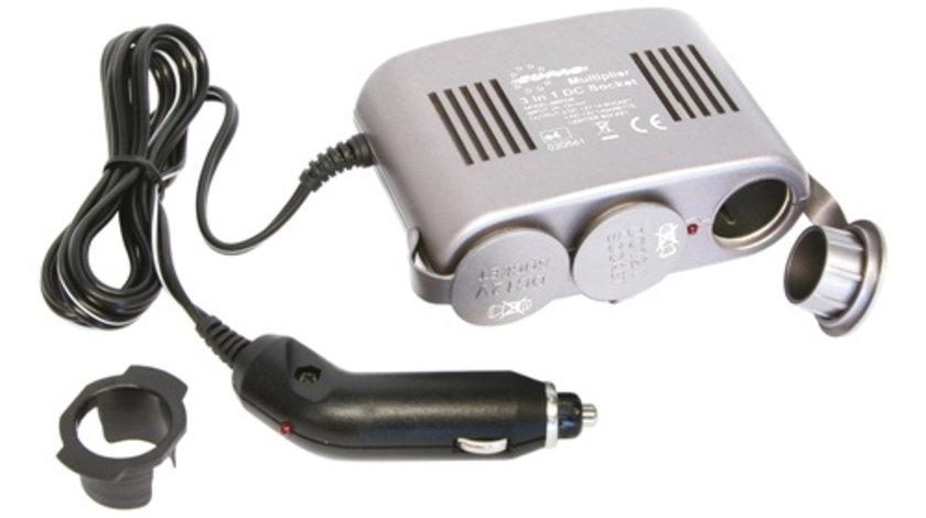 Priza auto tripla Carpoint 12V 1A , max.120W cu cablu de 130 cm