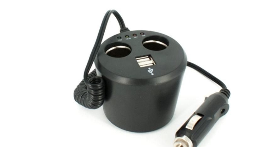 Priza dubla USB + 2xbricheta cu tester baterie cod intern: 830034