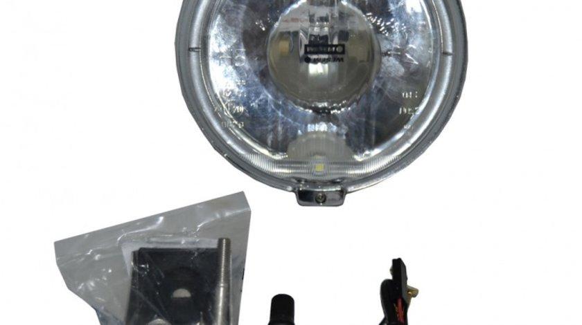 Proiector auto Wesem 12V bec H3 si led rotund , 183x97mm rotund sticla alba carcasa cromata, cu lumina de drum , 1 buc.