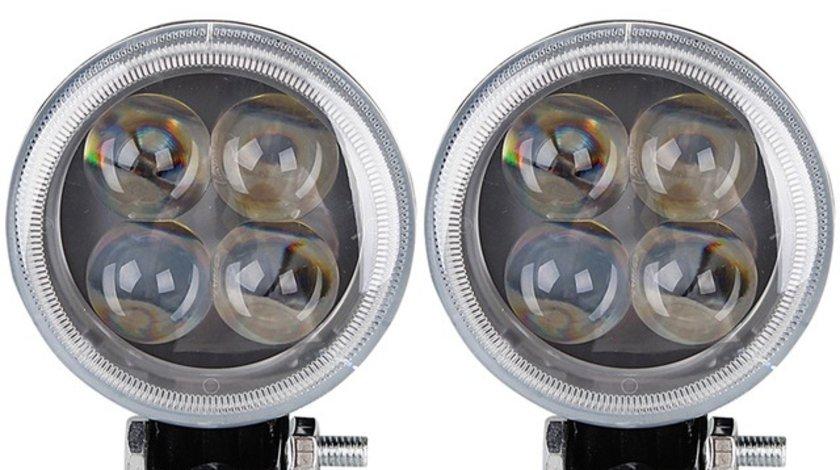 Proiector LED ART32012 12W SPOT 4D cu Angel eyes 12/24V