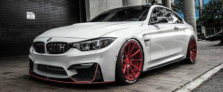Pune la respect pana si un Ferrari. Acest M4 cu jante rosii se lauda cu 712 cai putere sub capota
