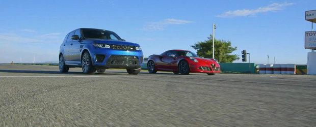 Putere vs. greutate: Duel inedit intre... Range Rover Sport SVR si Alfa Romeo 4C