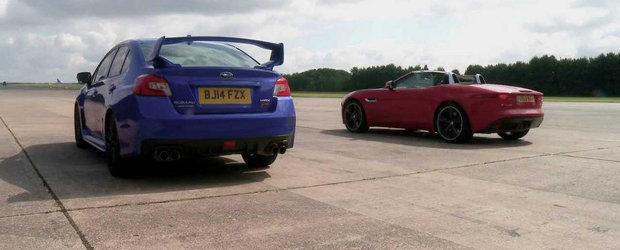 Putere vs. Tractiune: Drag Race intre Jaguar F-Type V6 S si Subaru WRX STI
