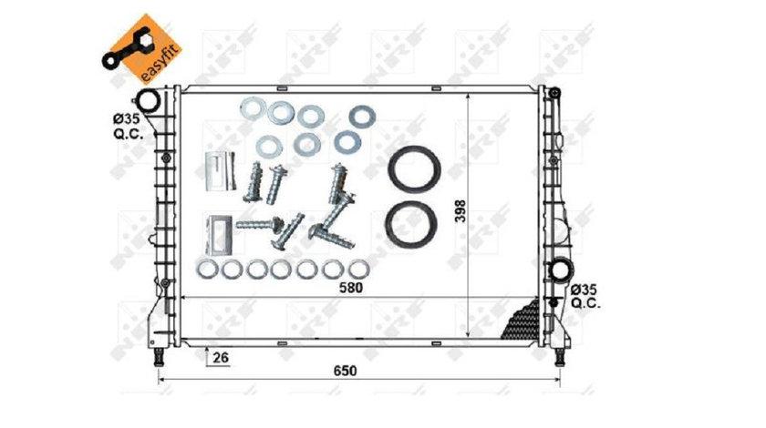 Radiator apa racire motor Alfa Romeo 147 2004 2005 2006 2007 2008 2009 2010 1 9 JTD 58x40 AC