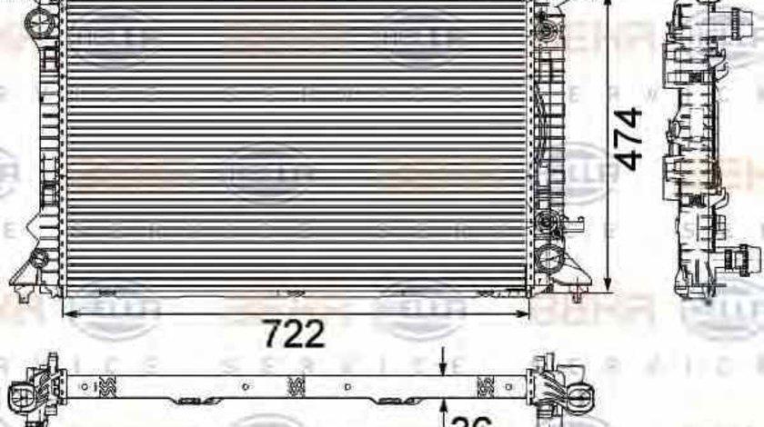 Radiator apa racire motor AUDI A4 Allroad 8KH B8 HELLA 8MK 376 745-651