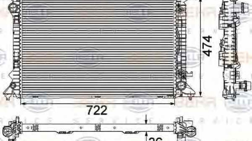 Radiator apa racire motor AUDI A5 Sportback 8TA HELLA 8MK 376 745-651