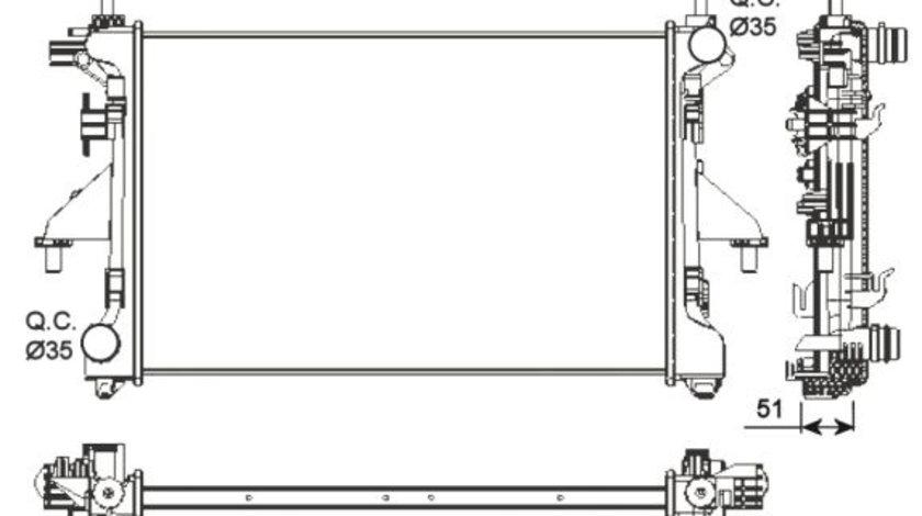 Radiator apa racire motor CITROEN JUMPER; FIAT DUCATO; PEUGEOT BOXER 2.2D/2.3D/3.0 d dupa 2006