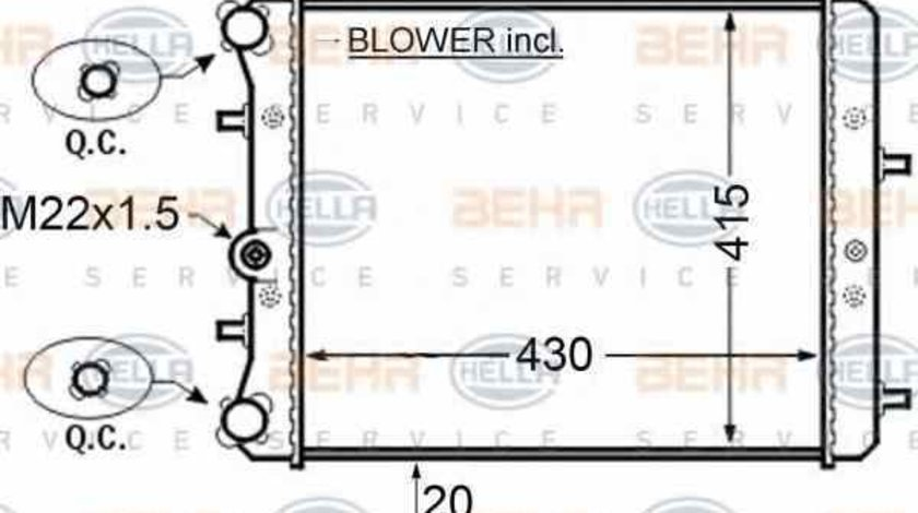 Radiator apa racire motor SKODA FABIA 6Y2 HELLA 8MK 376 704-601