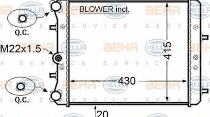Radiator apa racire motor SKODA FABIA limuzina 6Y3 HELLA 8MK 376 704-601