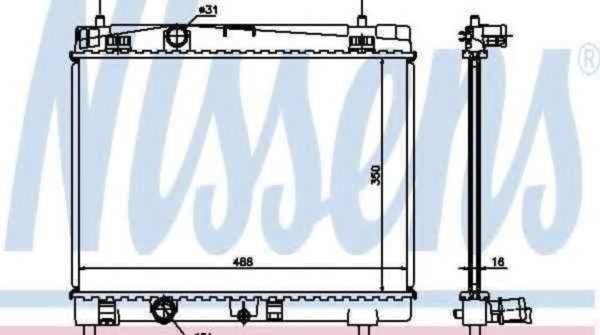 Radiator apa racire motor TOYOTA YARIS (SCP9_, NSP9_, KSP9_, NCP9_, ZSP9_) NISSENS 64671A