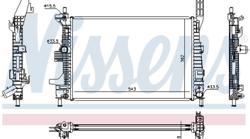Radiator apa racire motor (transmisie manuala) FORD C-MAX II, FOCUS III, GRAND C-MAX, KUGA II, TOURNEO CONNECT V408, TRANSIT CONNECT, TRANSIT CONNECT V408 1.5D/1.6 d dupa 2010 cod intern: CI4323CE