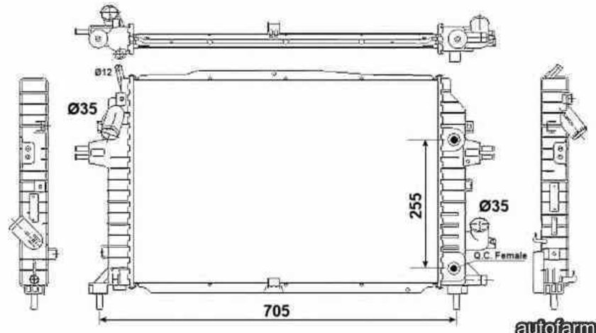 Radiator apa racire motor VAUXHALL ZAFIRA Mk II B M75 NRF 53082
