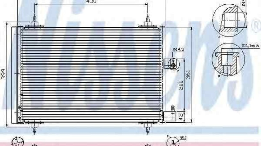 Radiator Clima Aer Conditionat PEUGEOT 607 (9D, 9U) NISSENS 94534