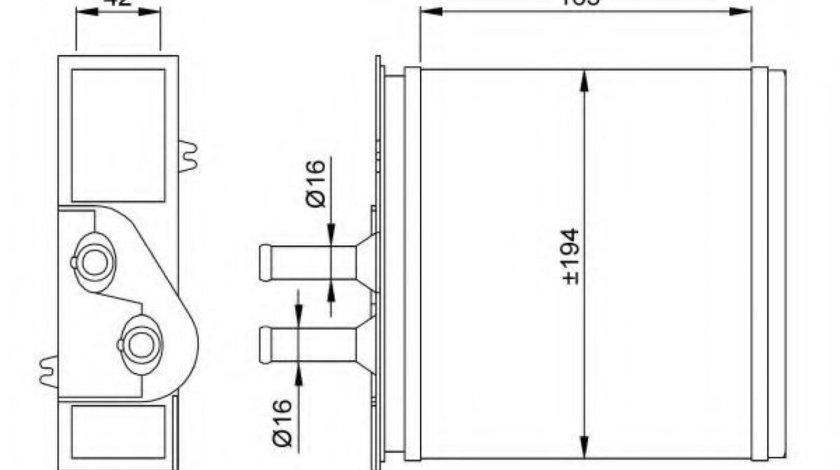Radiator incalzire interior LANCIA YPSILON (843) (2003 - 2011) NRF 53204 produs NOU