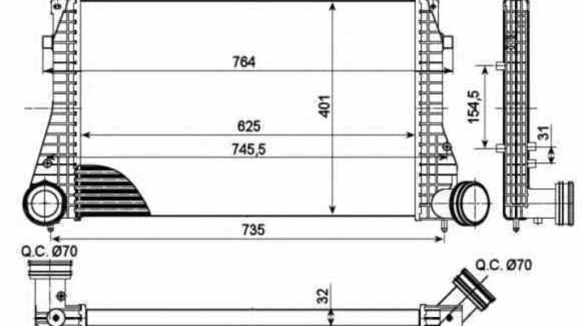 Radiator intercooler AUDI A3 8L1 NRF 30290