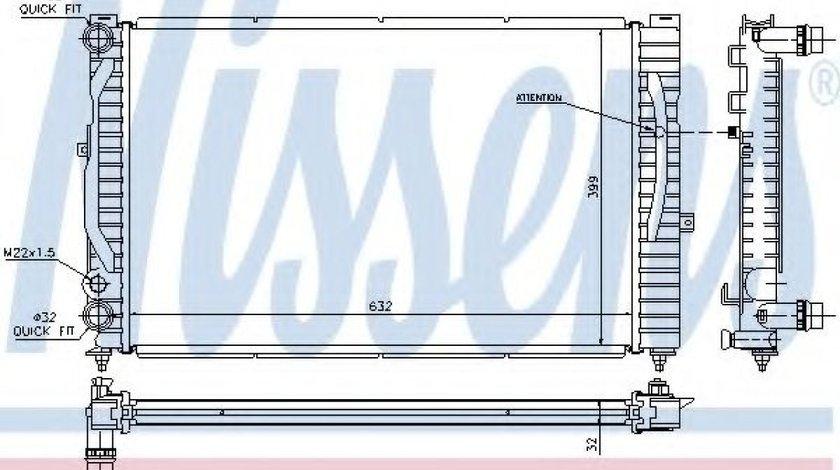 Radiator, racire motor AUDI A6 (4B2, C5) (1997 - 2005) NISSENS 60299 produs NOU