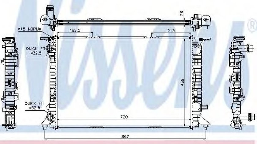 Radiator, racire motor AUDI A6 Avant (4G5, C7, 4GD) (2011 - 2016) NISSENS 60323 produs NOU