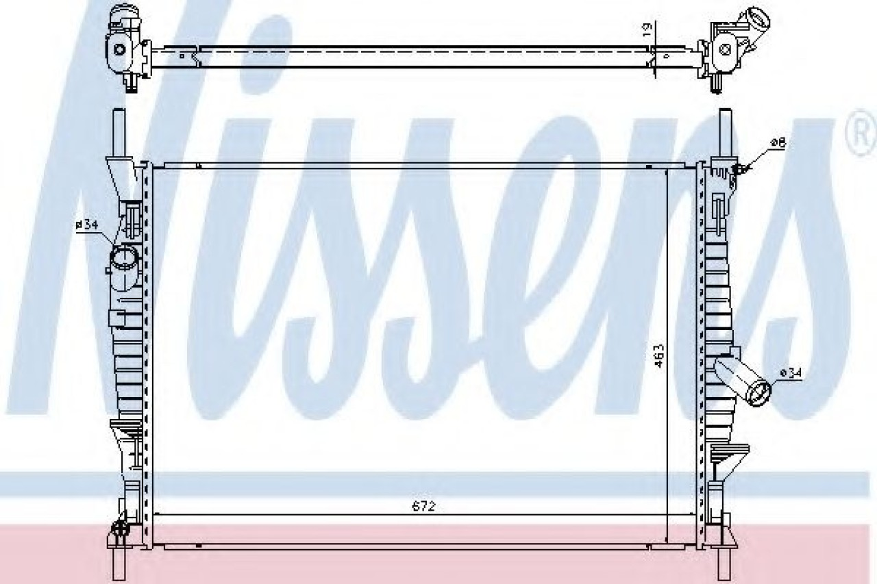 Radiator, racire motor FORD TRANSIT caroserie (2006 - 2014) NISSENS 69240 piesa NOUA