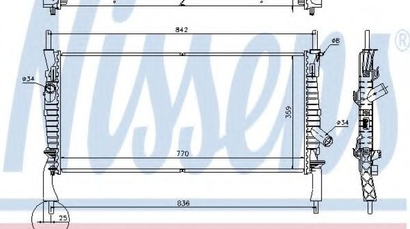 Radiator, racire motor FORD TRANSIT platou / sasiu (2006 - 2014) NISSENS 69226 piesa NOUA