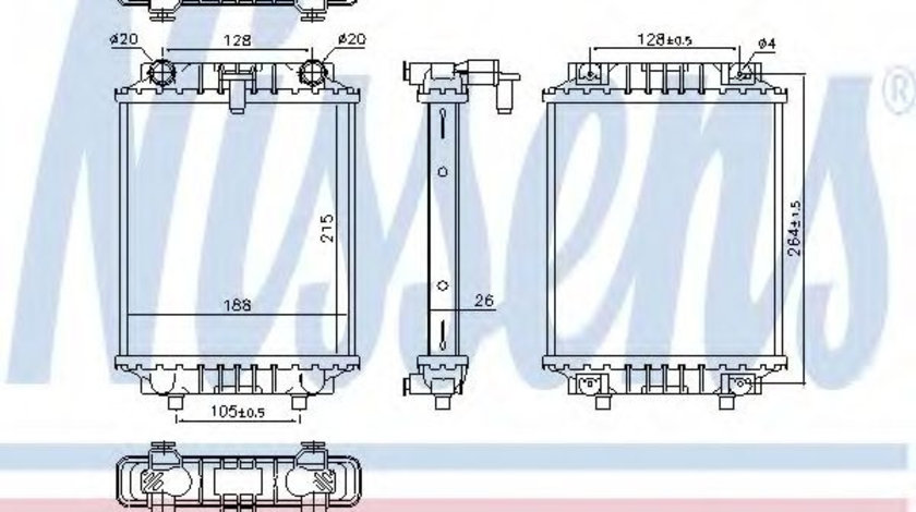 Radiator, racire motor SKODA SUPERB III Combi (3V5) (2015 - 2016) NISSENS 60372 piesa NOUA