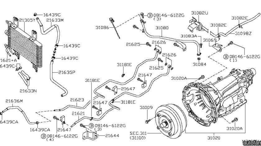 Radiator racire ulei cutie viteze automatica Nissan Navara NISSAN OE 21606EB405