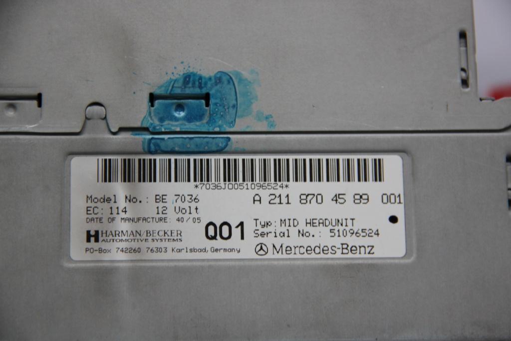 Radio CD cu Navigatie Mercedes E-CLASS W211 cod: A2118704589001 model 2006