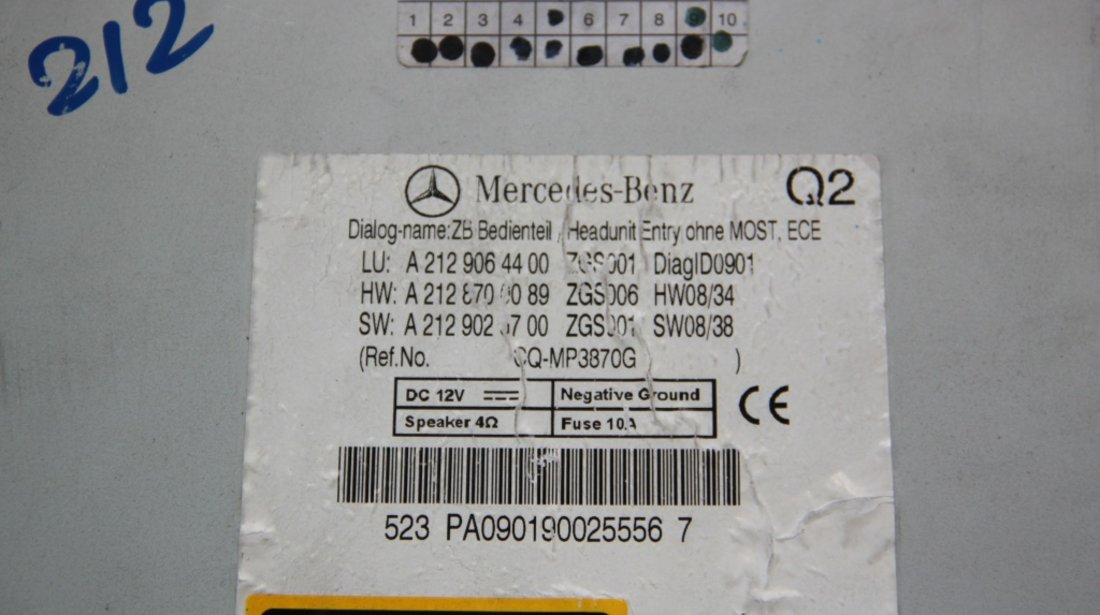 Radio CD Mercedes E-CLASS W212 cod: A2129064400 / A2128700089 / A2129026700 model 2014