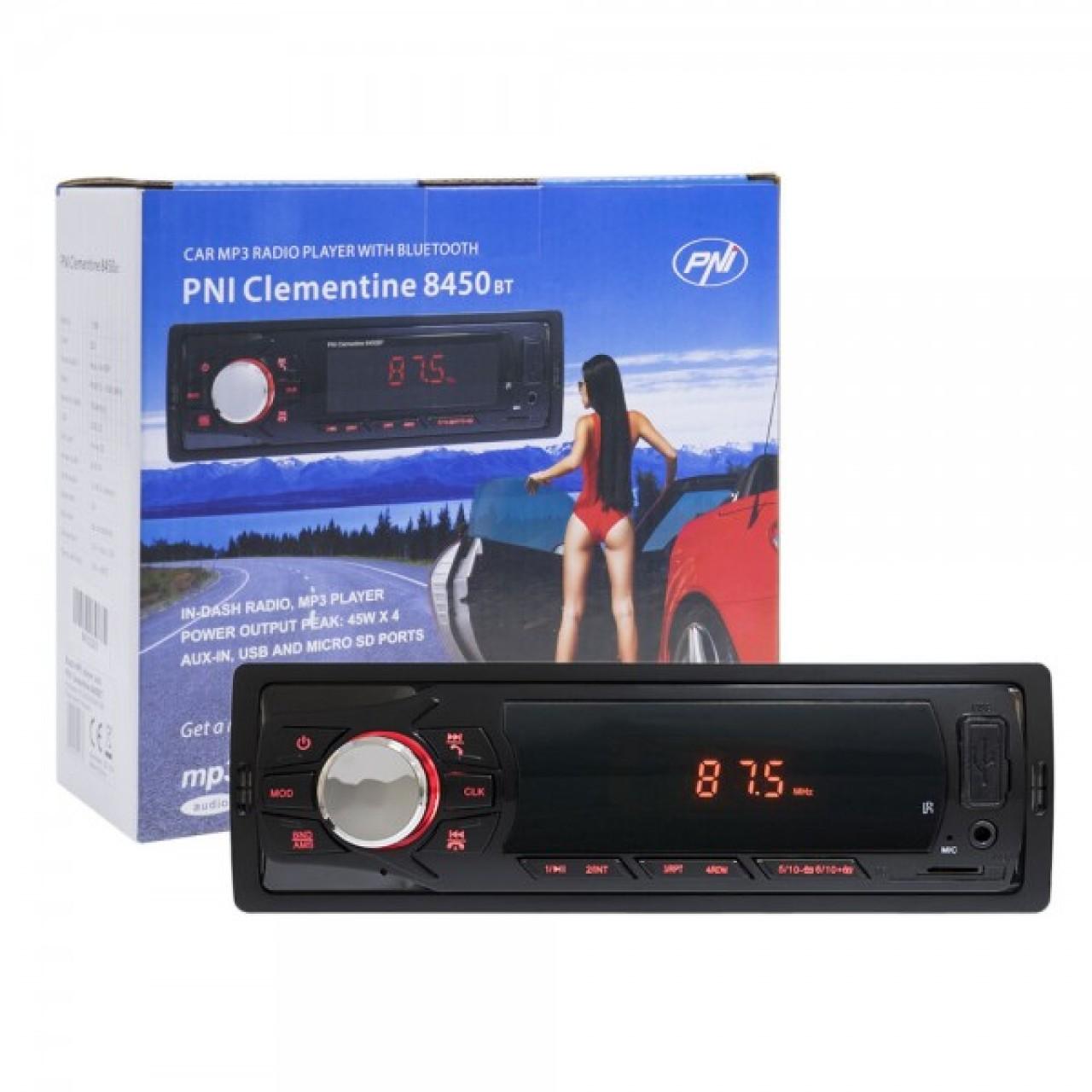 Radio MP3 player auto PNI Clementine 8450BT 4x45w 1 DIN cu SD, USB, AUX, RCA si Bluetooth